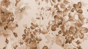Предпосылка ткани Брайна Sepia ретро картины шнурка флористической безшовной Monotone Стоковая Фотография RF