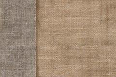 Предпосылка ткани мешка ткани мешковины безшовная, текстура дерюги Стоковая Фотография