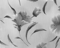 Предпосылка ткани ретро картины шнурка флористической безшовной Monotone Стоковые Фотографии RF