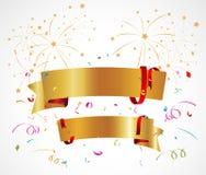 Предпосылка торжества с лентой и confetti Стоковые Фото