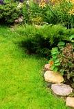 Предпосылка травы с элементами дизайна ландшафта Стоковое Изображение RF