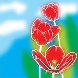 Предпосылка тюльпанов нерезкости иллюстрация штока