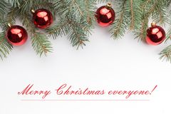 Предпосылка украшения рождества с ` сообщения с Рождеством Христовым каждое! ` Стоковые Изображения RF