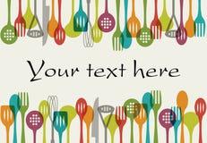 Предпосылка - установленные утвари кухни Стоковые Изображения
