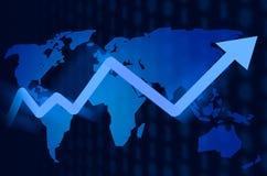 Предпосылка фондовой биржи карты мира Стоковая Фотография RF