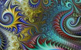 Предпосылка фрактали сюрреалистическая Футуристический научный дизайн динамически иллюстрация Стоковые Фото