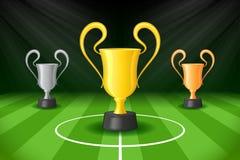 Предпосылка футбола с трофеем 3 наград Стоковая Фотография