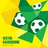 Предпосылка футбола футбола полигона с шариками в бразильских цветах Стоковые Изображения RF