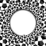 Предпосылка футбольных мячей обрамленная кругом бесплатная иллюстрация