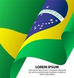 Предпосылка флага Бразилии развевая Стоковая Фотография