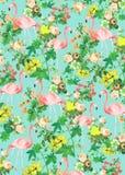 Предпосылка фламинго и цветков Стоковое фото RF