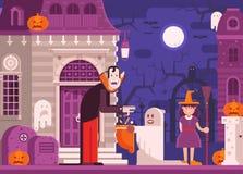 Предпосылка хеллоуина детей фокуса или обслуживания иллюстрация вектора
