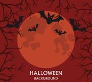 Предпосылка хеллоуина, летучие мыши летая, красное полнолуние Стоковые Изображения RF