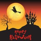Предпосылка хеллоуина с ведьмой, луной и замком Стоковые Фото