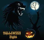 Предпосылка хеллоуина с волком Стоковое фото RF