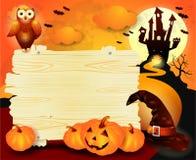 Предпосылка хеллоуина с знаком, в апельсине Стоковые Изображения RF
