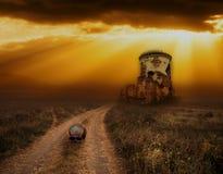 Предпосылка хеллоуина с старыми башнями и черепами Стоковое фото RF