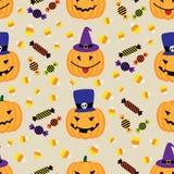 Предпосылка хеллоуина с тыквами и помадками Стоковая Фотография