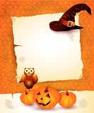 Предпосылка хеллоуина с чистым листом бумаги Стоковые Изображения