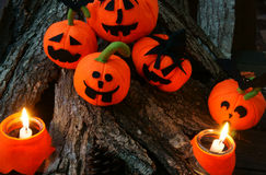 Предпосылка хеллоуина, handmade тыква Стоковая Фотография