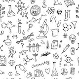 Предпосылка химии, безшовная картина для вашего дизайна Стоковые Изображения