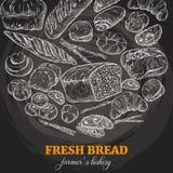 Предпосылка хлебопекарни, эскиз мела иллюстрация вектора