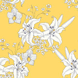 предпосылка цветет лоснистая белизна лилии 2 картина безшовная Стоковая Фотография RF