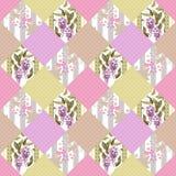 Предпосылка цветочного узора заплатки безшовная с декоративным ele бесплатная иллюстрация