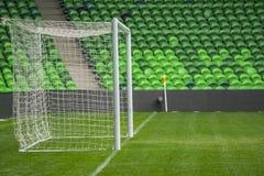Предпосылка цели футбола футбола в стадионе на день спички Стоковая Фотография RF