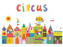 Предпосылка цирка с смешными builidngs, животными и солнцем Стоковое Фото