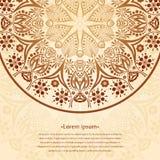 Предпосылка циркуляра цветка Стилизованный чертеж мандала Стилизованный орнамент шнурка Индийский флористический орнамент Стоковые Фото