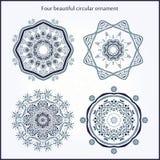 Предпосылка циркуляра цветка Стилизованный чертеж мандала Стилизованный орнамент шнурка Индийский флористический орнамент Стоковое Изображение RF