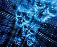 Предпосылка цифров абстрактная с черепами Стоковые Фотографии RF