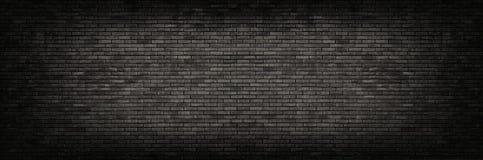 Предпосылка черной кирпичной стены панорамная Стоковая Фотография RF
