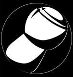 Предпосылка черноты логотипа круга пробочки шампанского силуэта Стоковая Фотография