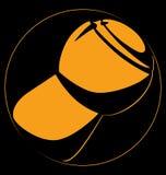 Предпосылка черноты логотипа шампанского пробочки силуэта желтая Стоковые Изображения RF