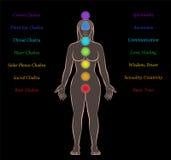 Предпосылка черноты описания женщины Chakras тела иллюстрация вектора