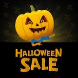 Предпосылка черноты продажи хеллоуина Человек с головой тыквы Стоковое Изображение RF