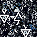 Предпосылка черноты текстуры цветочного узора заплатки безшовная Стоковое фото RF