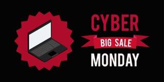 Предпосылка черноты witn знамени продажи понедельника кибер График иллюстрации вектора Стоковая Фотография