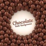 Предпосылка шариков шоколада с местом для вашего содержания Стоковое фото RF