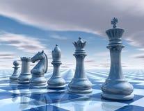 Предпосылка шахмат сюрреалистическая с небом и доской Стоковое Изображение RF