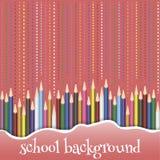 Предпосылка школы с карандашами Стоковое Изображение