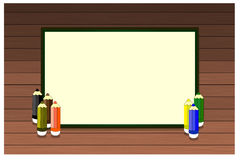 Предпосылка школы с древесиной, карандашами и местом для текста Стоковые Фото