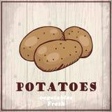 Предпосылка эскиза свежих овощей Винтажная иллюстрация чертежа руки картошки Стоковое Фото