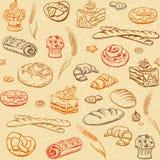 Предпосылка эскиза хлебопекарни безшовная Иллюстрация штока