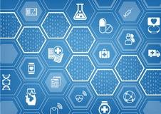 Предпосылка электронного e-здравоохранения голубая с шестиугольными формами Стоковая Фотография RF