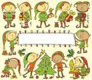 Предпосылка эльфов рождества - иллюстрация Стоковые Фотографии RF