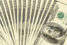 Предпосылка язычка с долларовыми банкнотами американца 100 денег Стоковая Фотография RF