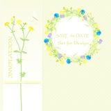 Предпосылка для дизайна, wildflowers, венок цветка и знамя, сохраняет дату также вектор иллюстрации притяжки corel иллюстрация штока